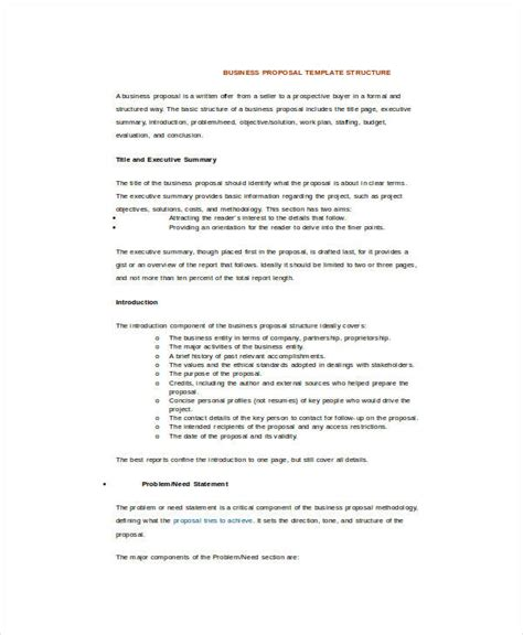 business proposal template word 16 free sle exle