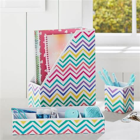 Chevron Desk Accessories Printed Desk Accessories Multi Chevron Pbteen