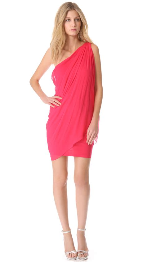 one shoulder draped dresses alice olivia alice olivia one shoulder draped dress in