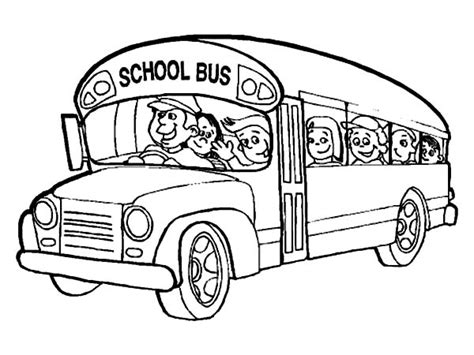 school buses free colouring pages