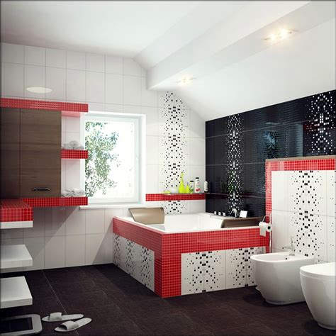 red accent bathroom how to decorate with red black and white