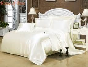 Luxury Bed Sheet Sets Luxury Milk White Silk Satin Bed Sheet Set Duvet Cover