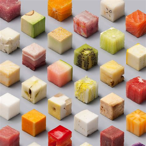 into the food a variety of unprocessed foods cut into uncannily precise 2 5cm cubes by lernert