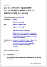 business transfer agreement incorporate a sole trader