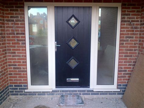 Farmhouse Black Wooden Front Door Combined Frosted Glass Front Door Glass Panels