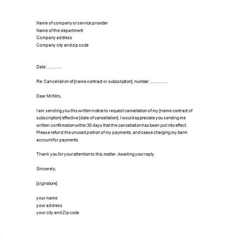 Resume Draft Sle by Writing A Cancellation Letter For A Contract 28 Images