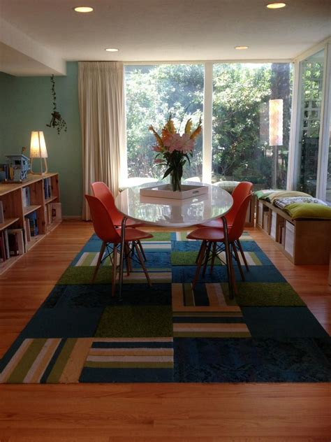 multicolored eclectic dining room  mid century modern