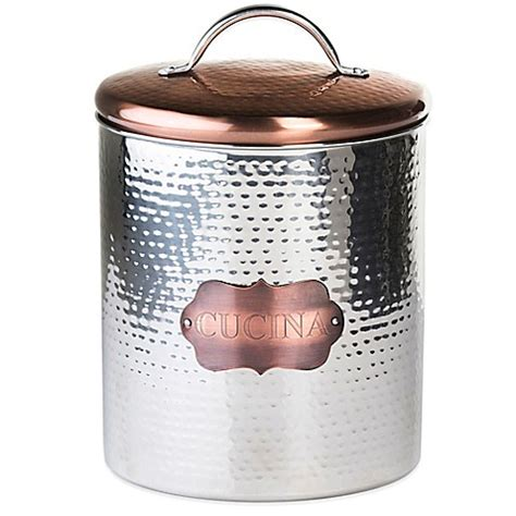 copper canister for a kitchen barh and beyond in greenville nc buy global amici large quot cucina quot hammered metal canister from bed bath beyond