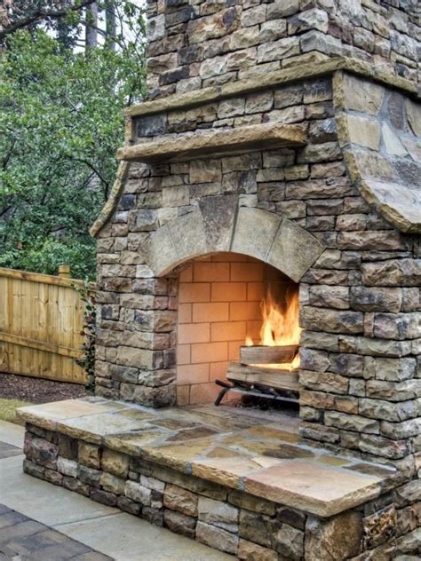 build  outdoor stacked stone fireplace outdoor