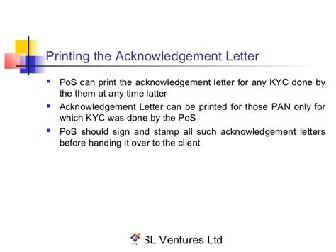 Kyc Acknowledgement Letter How To Get kyc presentation