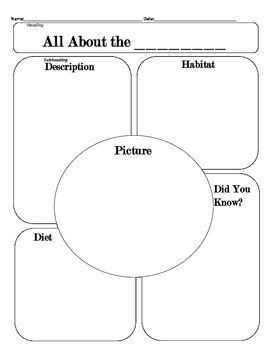 All About Any Animal Graphic Organizer Nature Science