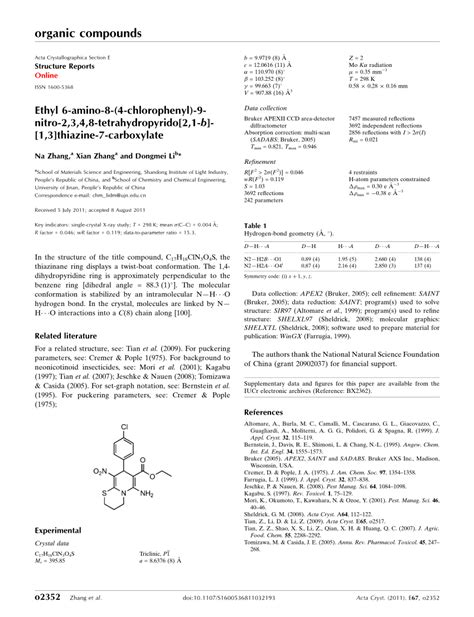 acta crystallographica section e structure reports online impact factor ethyl 6 amino 8 4 chlorophenyl 9 nitro 2 3 4 8