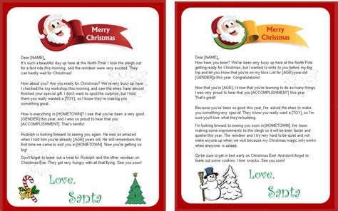 santa letter reply template designs available from http freeletterfromsantaclaus net