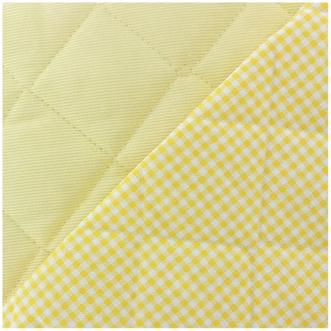 Quilted Cotton Fabric by Baby Quilted Cotton Stitched Fabric Yellow X 10cm Ma