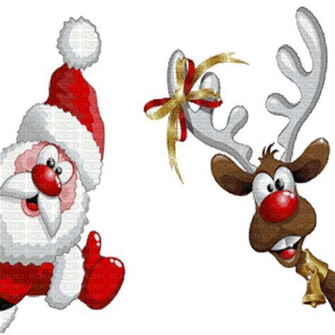 santa claus and rudolph reindeer animated julebilder