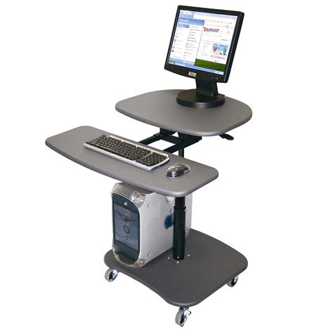 Mobile Computer Workstation To Enhance Your Work Adjustable Height Computer Desk Workstation