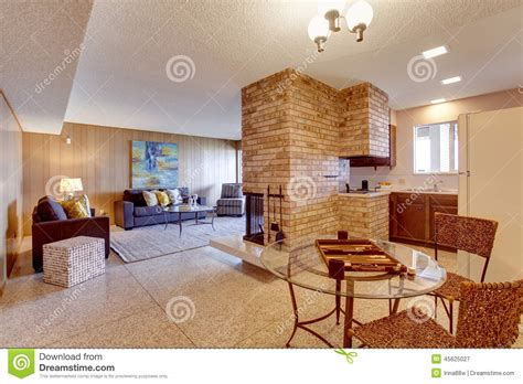 basement open floor plan living room with dining and