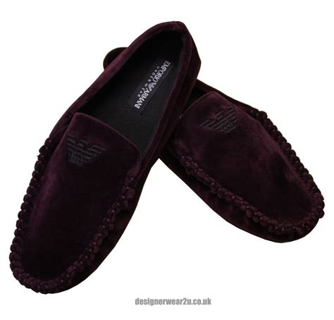 armani slippers emporio armani burgundy moccasin style mens slippers