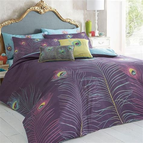 bed pillow sets purple peacock bedding set duvet covers pillow cases