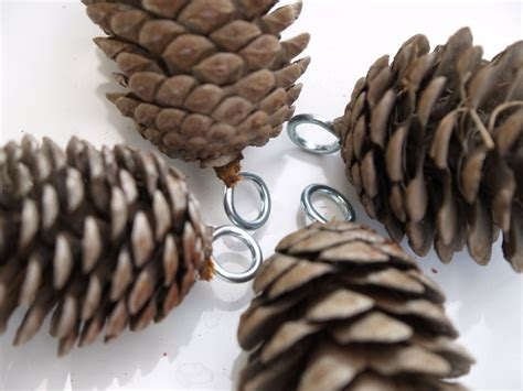 pine cone home decor how to hang pine cones to insert an eyelet drill a tiny