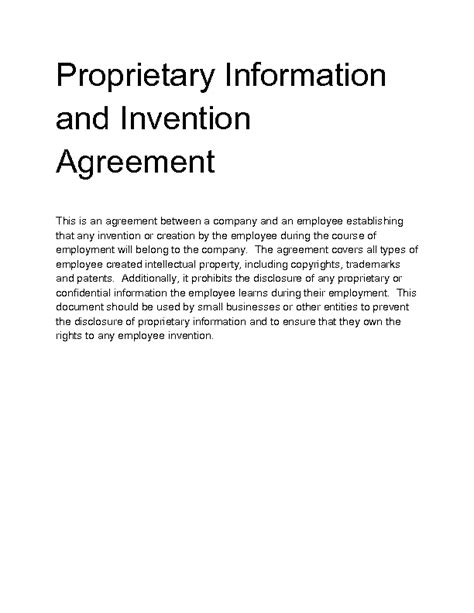 proprietary information agreement template 28 proprietary information agreement template