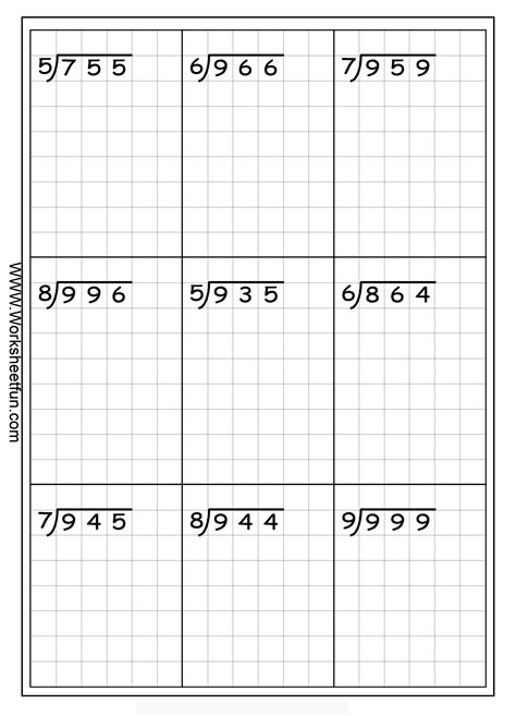 Free Printable Long Division Worksheets Without Remainders | long division 3 digits by 1 digit without remainders
