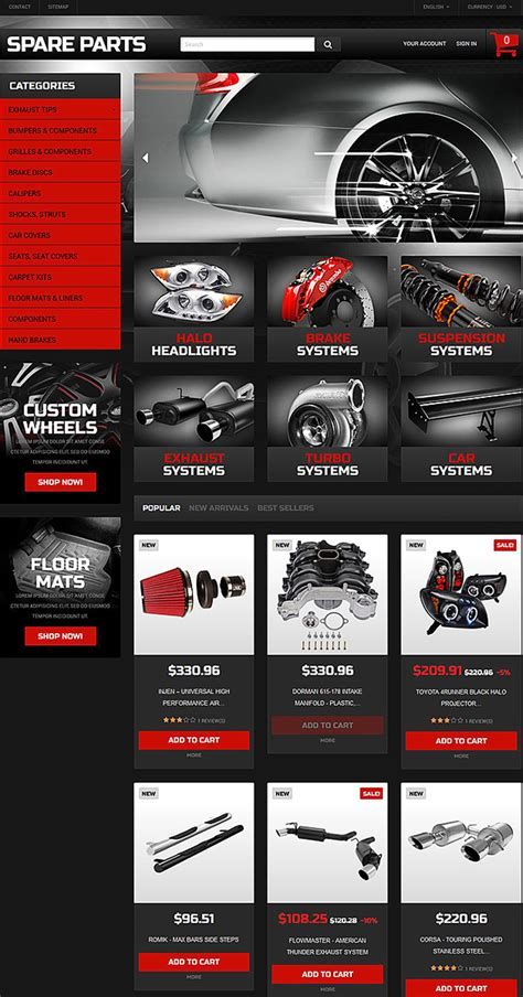 15 Awesome Ecommerce Templates Themes For Auto Parts Auto Spare Parts Website Template Free