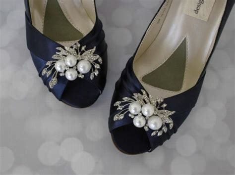 Navy Blue Bridal Shoes by Navy Wedding Shoes Pearl Bridal Shoes On Budget