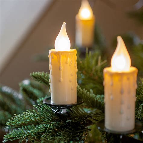 flickering candle christmas tree lights 30 jumbo christmas candle lights with clips by lumineo