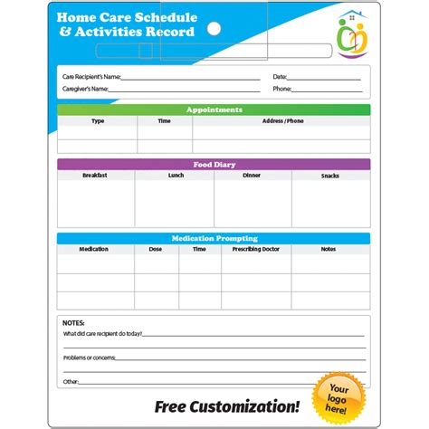 Home Care Schedule Log 8 5x11 Laminated Dry Erase Pen And Loop 1000l Caregiver Log Home Health Care Daily Log Template
