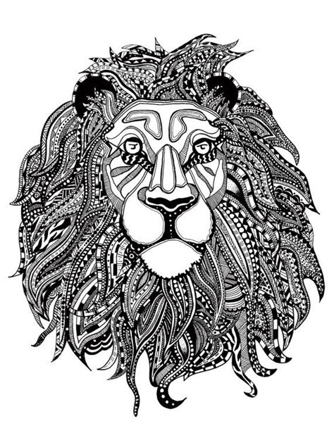 zentangle lion pattern ink pattern lion print le 243 n peque 241 o de mina pinterest