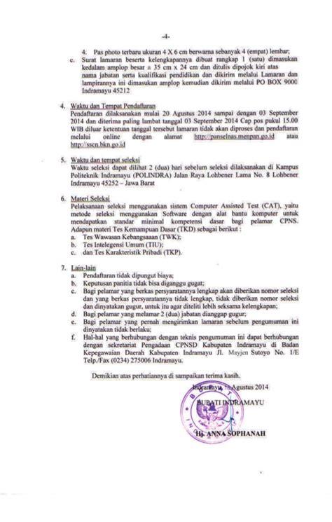 Contoh Surat Lamaran Cpns Dikti by Penerimaan Cpns Kabupaten Indramayu