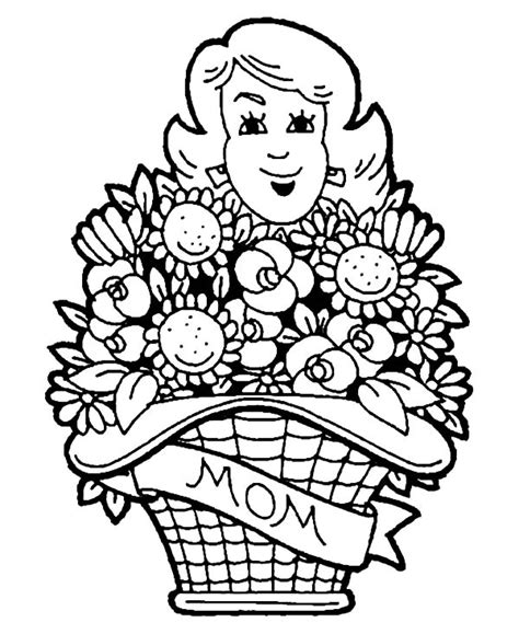 coloring pages basket of flowers mothers day basket of flowers coloring pages mothers day
