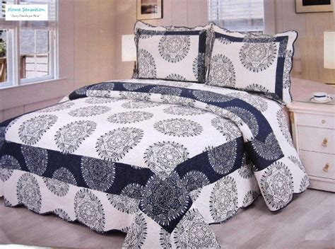 Navy Blue King Quilt 3pc 100 Cotton Navy Blue And White Medallion Reversible