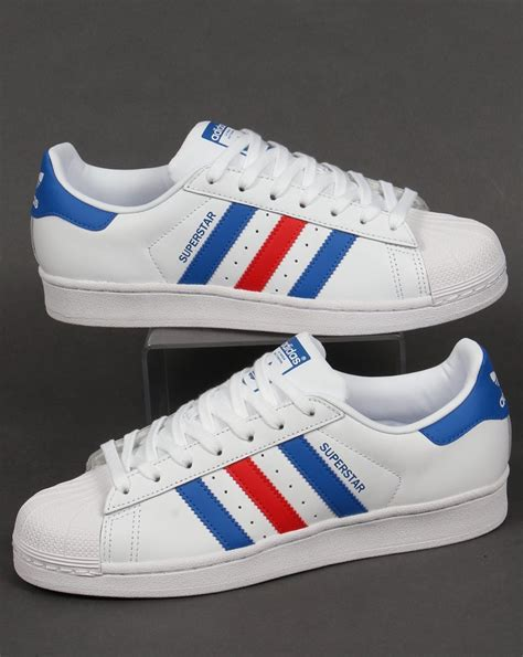 adidas superstar trainers whiteblueredoriginalsshell