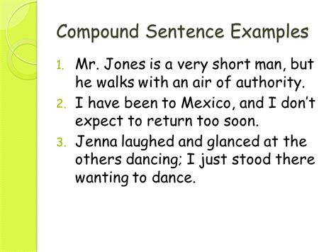exle of compound sentence sentence formulas ppt