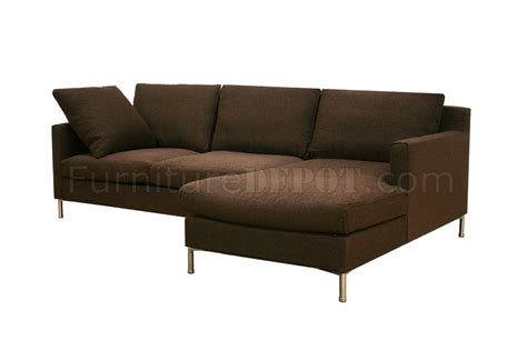 brown twill fabric modern sectional sofa w removable cushions