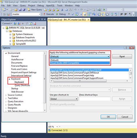reset visual studio keyboard settings sql server management studio tutorial configuring the