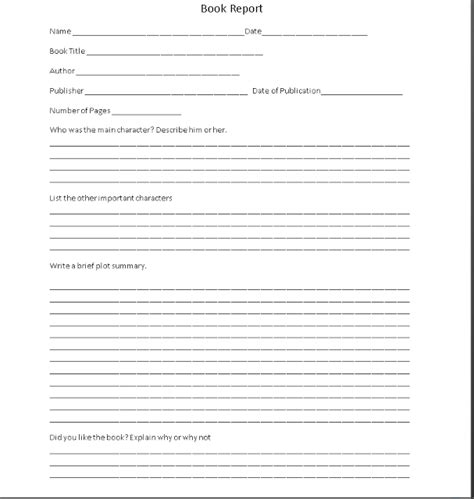 book report template printable shoved to them 4th 6th grade book report form