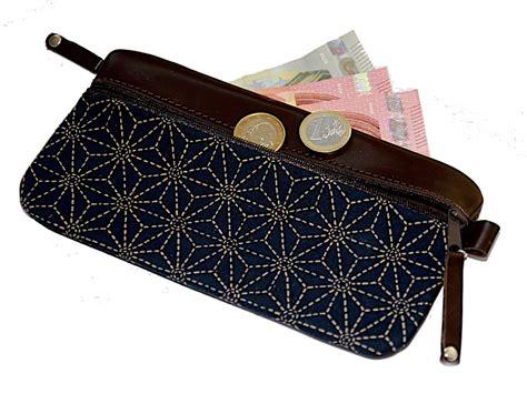 stoff hängesessel eleganter geldbeutel leder braun stoff asanoha japan