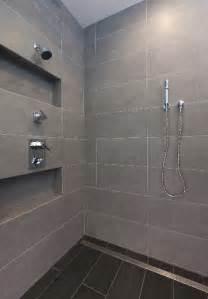 Bathroom Shower Large Tiles Large Format Tile Shower And Linear Shower Drain Photo
