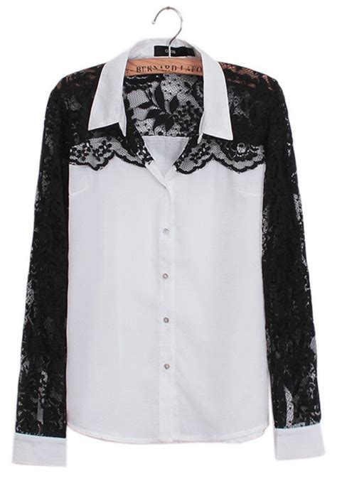 Blouse Starburks White Or Black white black lace patchwork sleeve chiffon blouse blouses tops