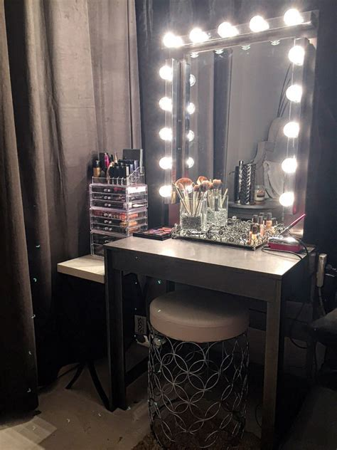small makeup vanity with lights glam diy light up vanity mirror projects decorating