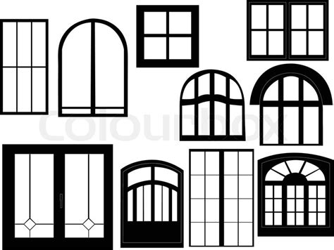 Window collection silhouette   vector   Stock Vector   Colourbox