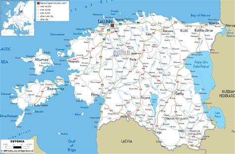 map of estonia road map of estonia ezilon maps