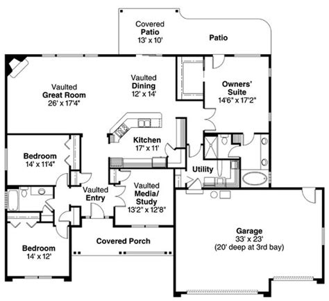 ranch floor plans with vaulted ceilings contemporary european ranch house plan 59701 3 car