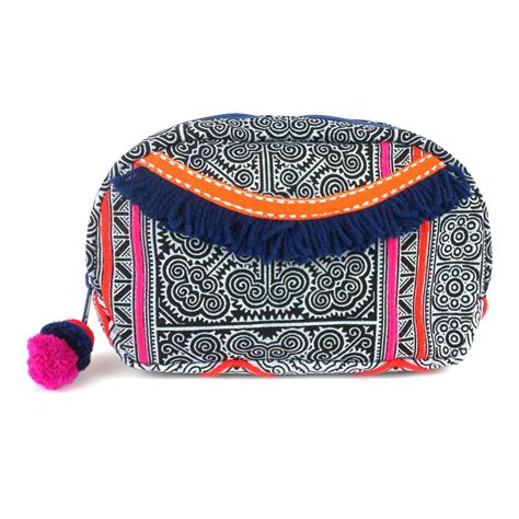 flower of cosmetic bag grey turquoise handmade and fair trade alternatives global marketplace