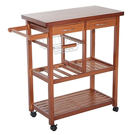 wooden rolling storage cart with drawers homcom wooden rolling storage microwave cart kitchen