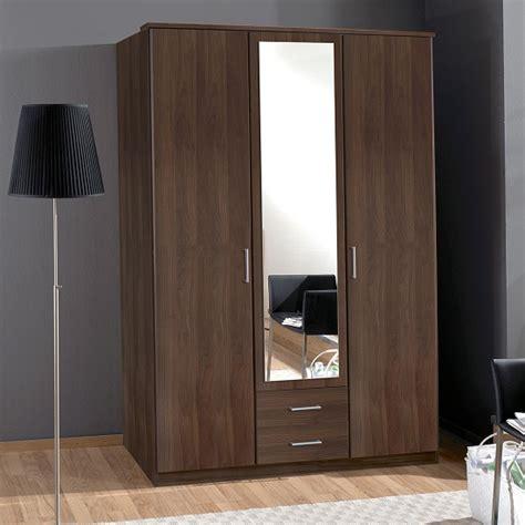 octavia mirror wardrobe in walnut with 3 doors and 2 dr