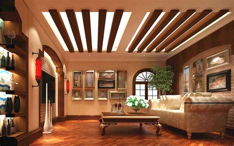 Wood Ceiling Designs Living Room Pastoral Style Living Room Wood Ceiling Design Rendering 3d House
